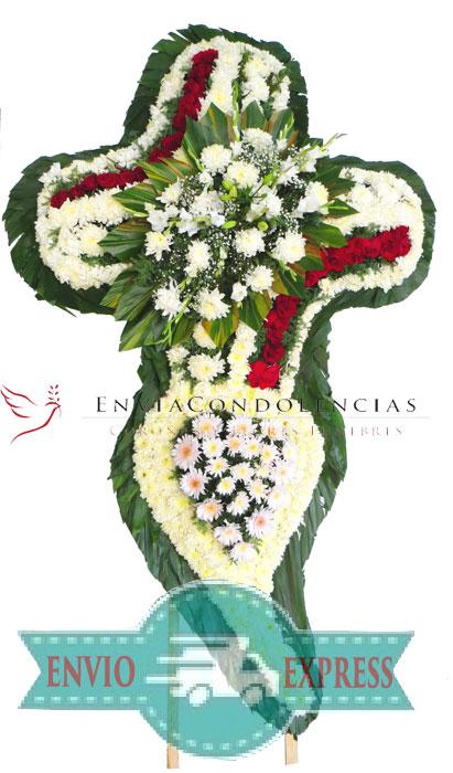 Cruz funebre en gran formato: Cristo y Corazón